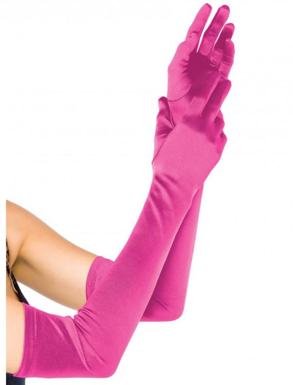 Extra Long Satin Fuchsia Gloves, halloween costume (Extra Long Satin Fuchsia Gloves)