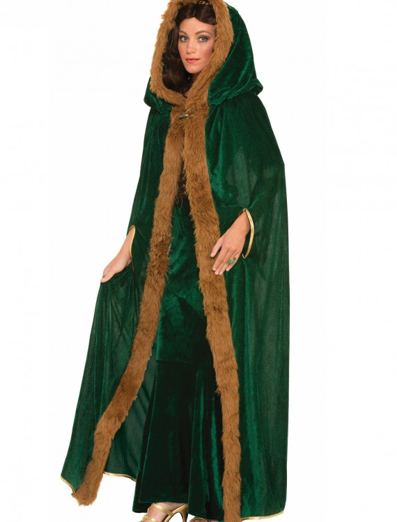 Faux Fur Trimmed Green Cape, halloween costume (Faux Fur Trimmed Green Cape)