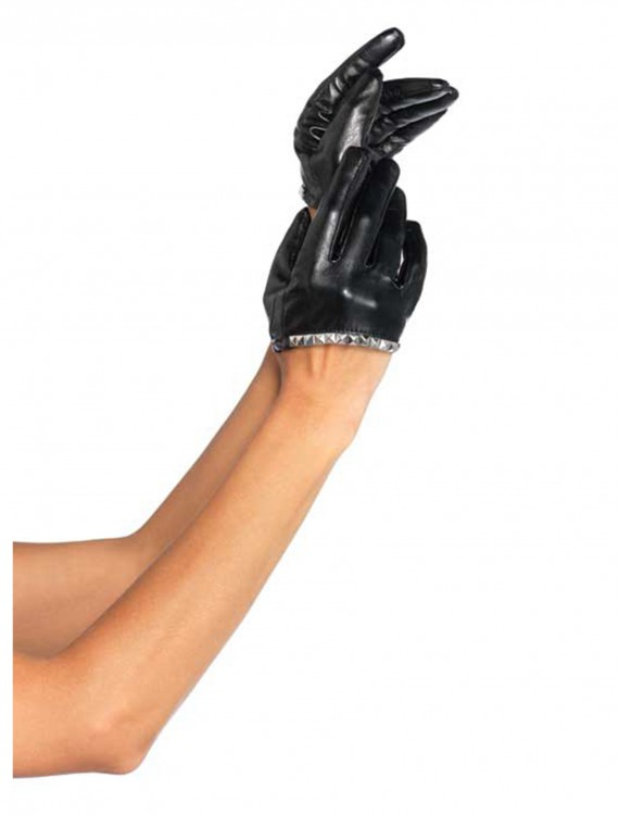 Faux Leather Cropped Gloves, halloween costume (Faux Leather Cropped Gloves)