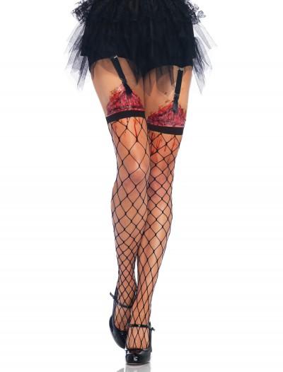 Fence Net Thigh Highs w/Bleeding Wound, halloween costume (Fence Net Thigh Highs w/Bleeding Wound)