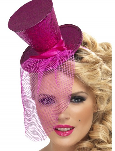 Fever Hot Pink Glitter Mini Top Hat, halloween costume (Fever Hot Pink Glitter Mini Top Hat)