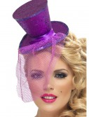Fever Purple Glitter Mini Top Hat, halloween costume (Fever Purple Glitter Mini Top Hat)