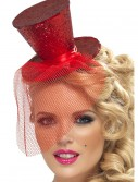 Fever Red Glitter Mini Top Hat, halloween costume (Fever Red Glitter Mini Top Hat)