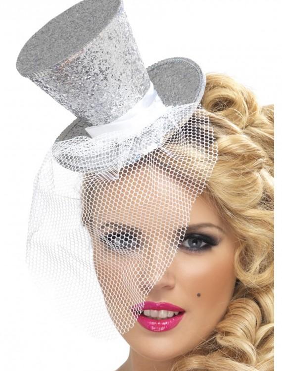 Fever Silver Glitter Mini Top Hat, halloween costume (Fever Silver Glitter Mini Top Hat)