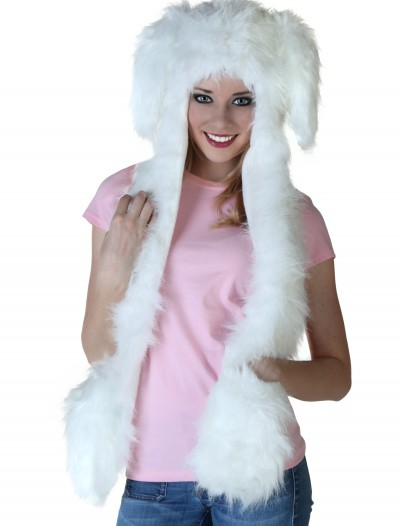 Floppy Ear White Rabbit Hat w/Mittens, halloween costume (Floppy Ear White Rabbit Hat w/Mittens)