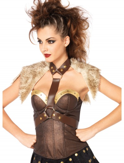 Fur Pelt Faux Leather Body Harness, halloween costume (Fur Pelt Faux Leather Body Harness)