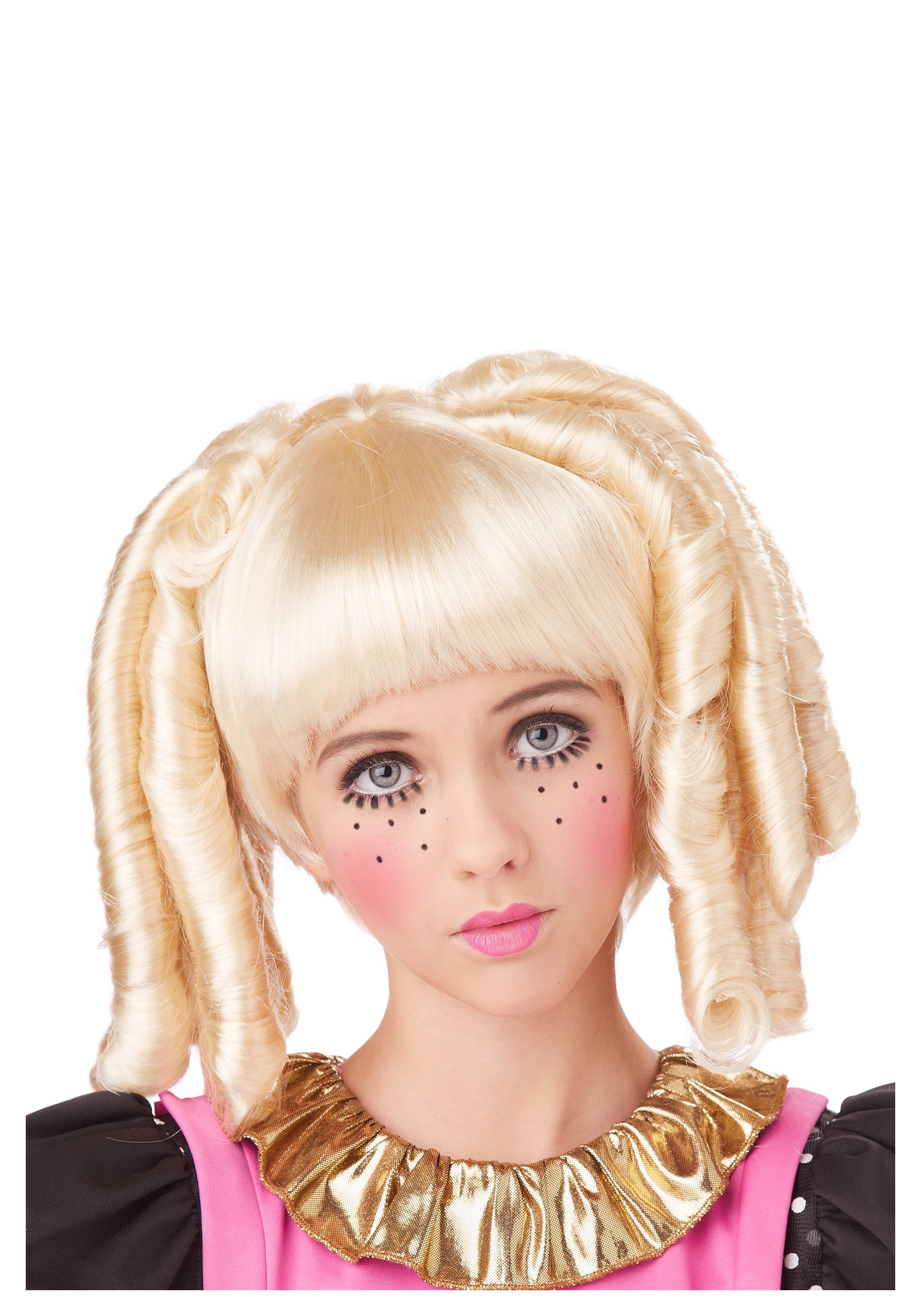 Girls Blonde Baby Doll Curls Wig with Bangs  sc 1 st  Halloween Costumes & Girls Blonde Baby Doll Curls Wig with Bangs - Halloween Costumes