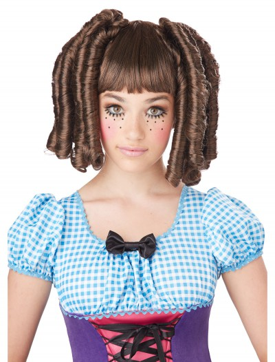 Girls Brunette Baby Doll Curls Wig with Bangs, halloween costume (Girls Brunette Baby Doll Curls Wig with Bangs)