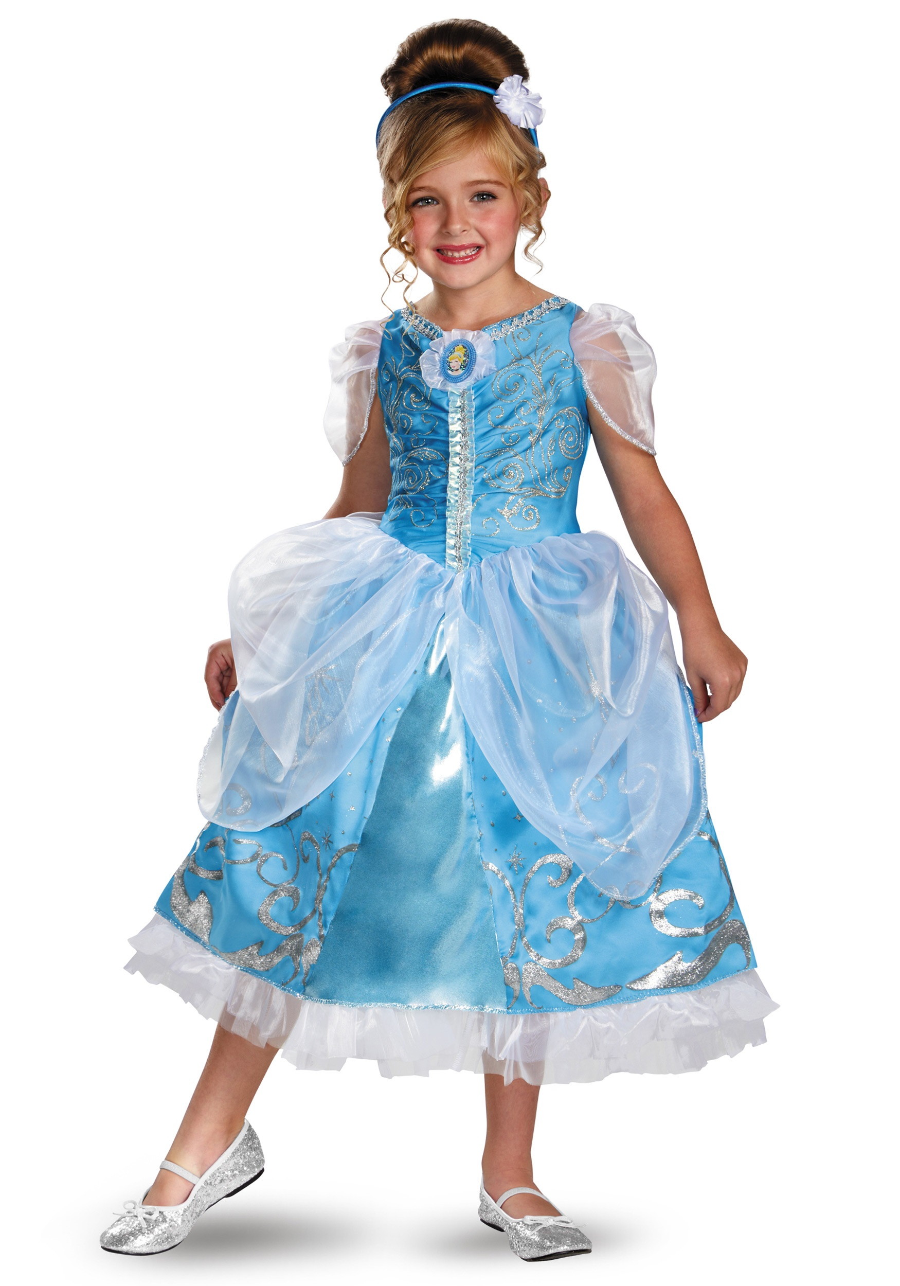 Girls Cinderella Sparkle Deluxe Costume - Halloween Costumes