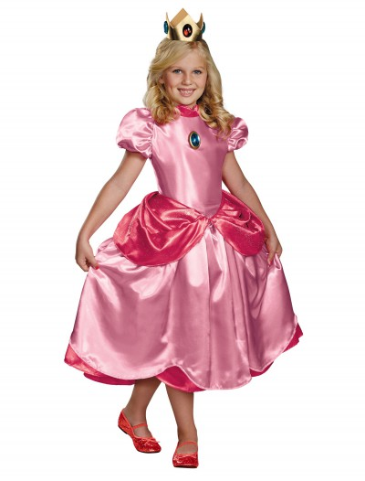Girls Deluxe Princess Peach Costume, halloween costume (Girls Deluxe Princess Peach Costume)
