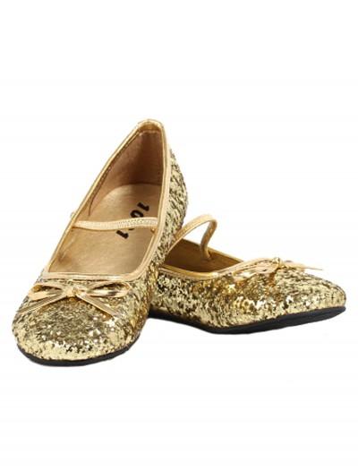 Girls Gold Glitter Ballet Flats, halloween costume (Girls Gold Glitter Ballet Flats)