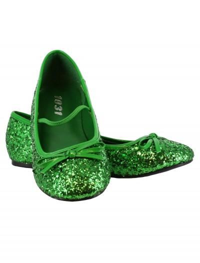 Girls Green Glitter Ballet Flats, halloween costume (Girls Green Glitter Ballet Flats)