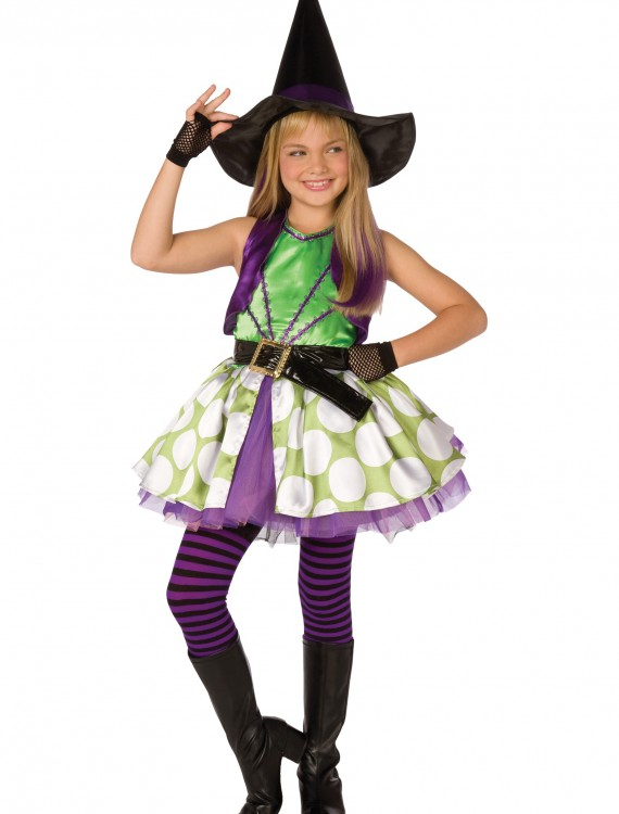 Girls Green Polka Dot Witch Costume, halloween costume (Girls Green Polka Dot Witch Costume)