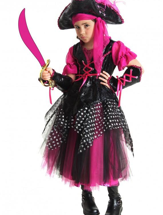 Girls Pink Caribbean Pirate Costume, halloween costume (Girls Pink Caribbean Pirate Costume)
