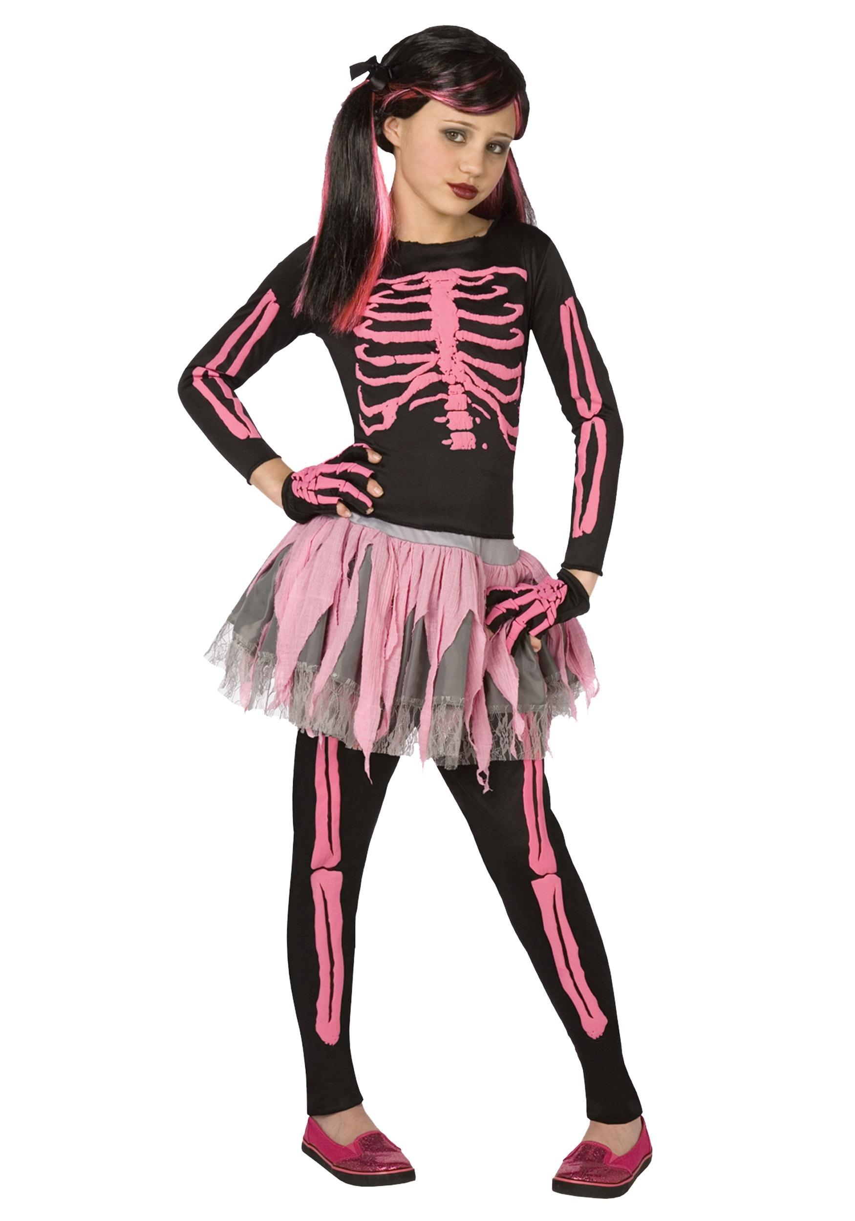 girls pink punk skeleton costume - halloween costumes