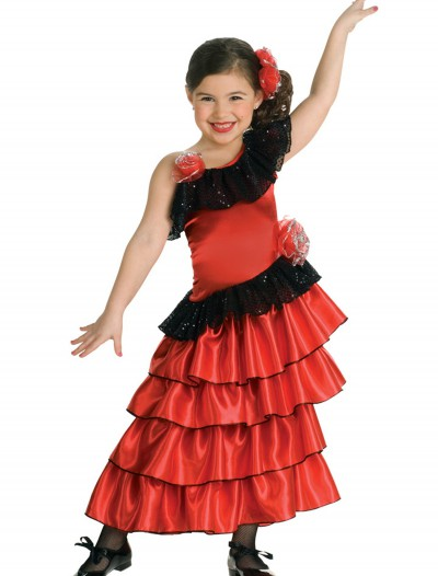 Girls Spanish Flamenco Dancer Costume, halloween costume (Girls Spanish Flamenco Dancer Costume)