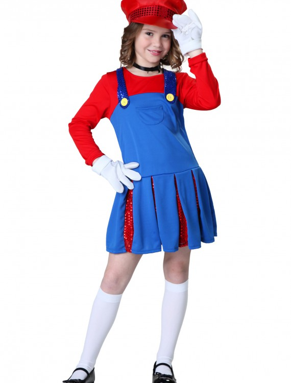Girls Super Maria Costume, halloween costume (Girls Super Maria Costume)