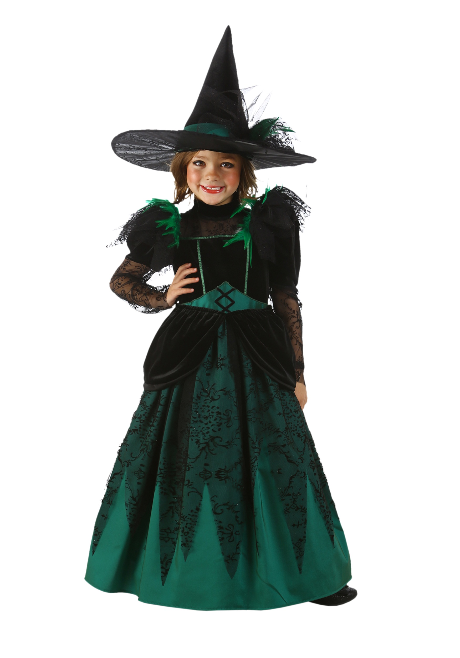 Girls Emerald Witch Costume - Halloween Costumes