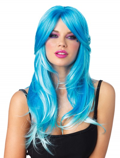 Glow Two-Tone Long Wavy Wig, halloween costume (Glow Two-Tone Long Wavy Wig)