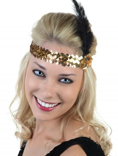 Gold and Black Flapper Headband, halloween costume (Gold and Black Flapper Headband)