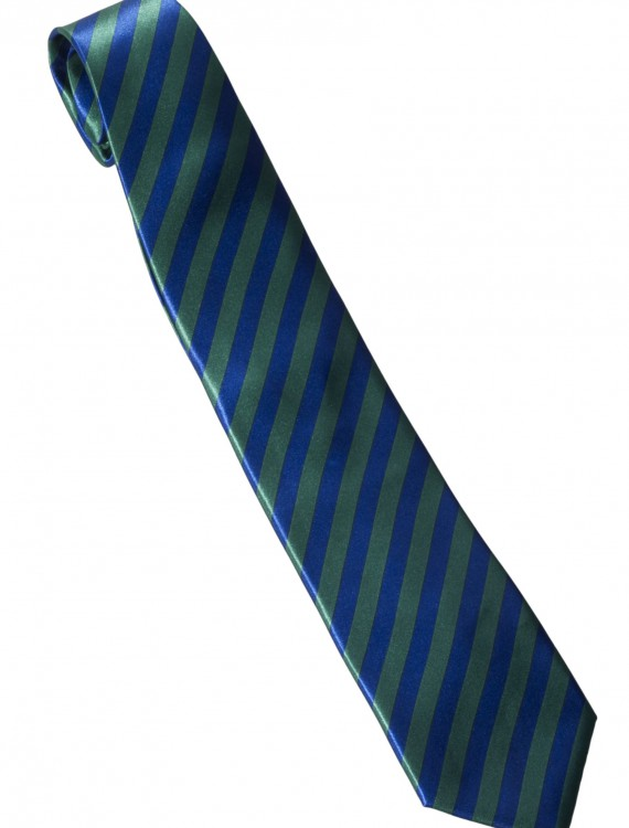 Green/Blue Striped Windsor Necktie, halloween costume (Green/Blue Striped Windsor Necktie)