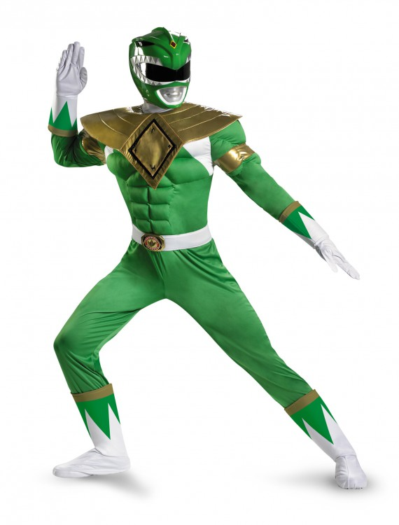 Green Ranger Classic Muscle Adult Costume, halloween costume (Green Ranger Classic Muscle Adult Costume)