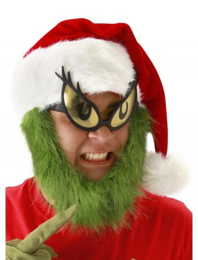 Grinch Hat with Fur Beard, halloween costume (Grinch Hat with Fur Beard)