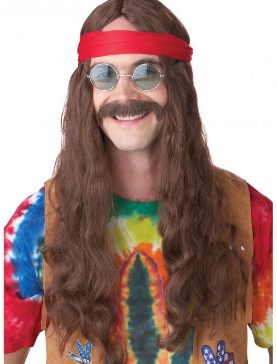 Hippie Man Wig and Mustache, halloween costume (Hippie Man Wig and Mustache)