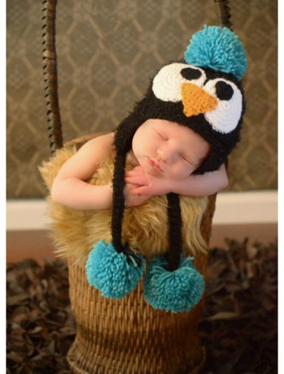 Infant Black Feather Penguin Hat with Blue Accents, halloween costume (Infant Black Feather Penguin Hat with Blue Accents)
