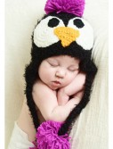Infant Black Feather Penguin Hat with Pink Accents, halloween costume (Infant Black Feather Penguin Hat with Pink Accents)