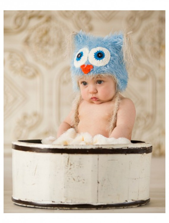 Infant Blue Yarn Owl Hat, halloween costume (Infant Blue Yarn Owl Hat)