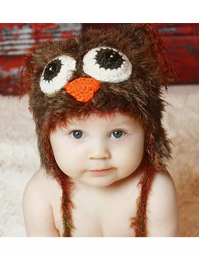 Infant Brown Yarn Owl Hat, halloween costume (Infant Brown Yarn Owl Hat)