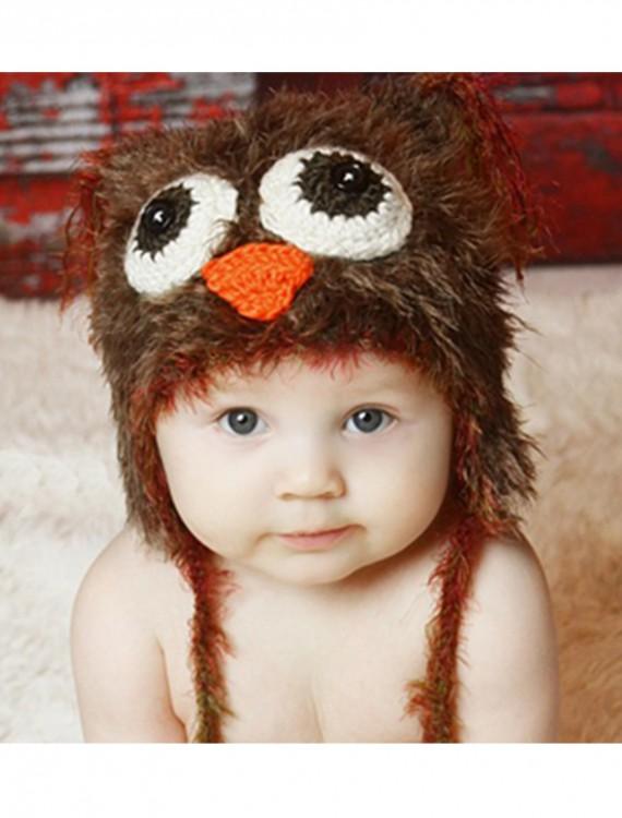 Infant Brown Yarn Owl Hat, halloween costume (Infant Brown Yarn Owl Hat)