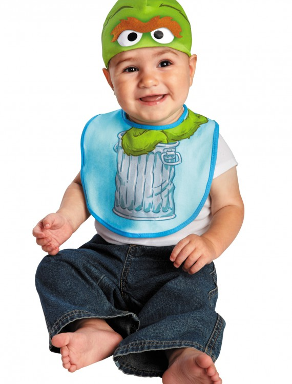 Infant Oscar the Grouch Hat and Bib Set, halloween costume (Infant Oscar the Grouch Hat and Bib Set)