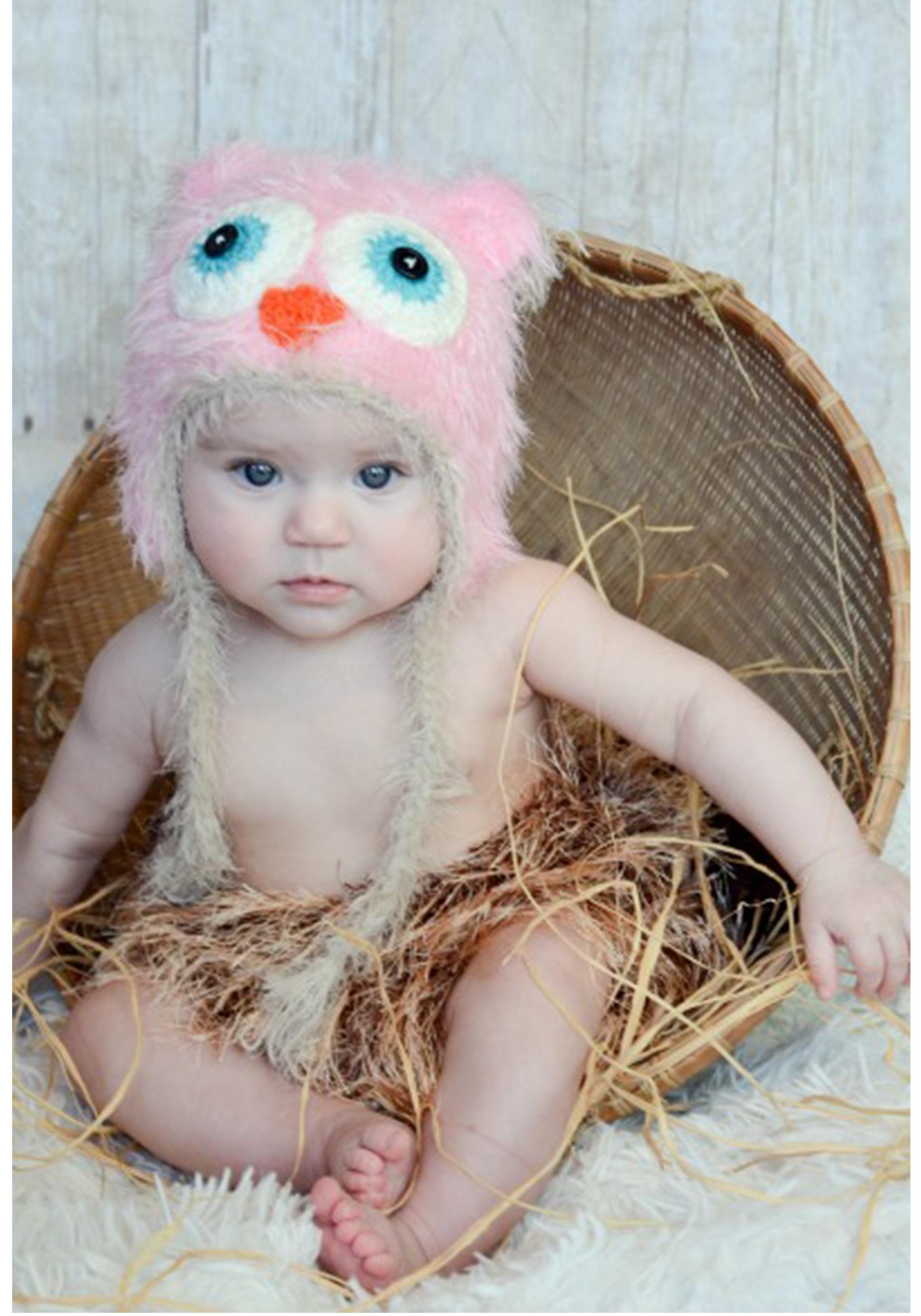 infant pink yarn owl hat - halloween costumes