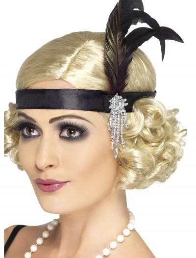 Jeweled Black Flapper Headband, halloween costume (Jeweled Black Flapper Headband)
