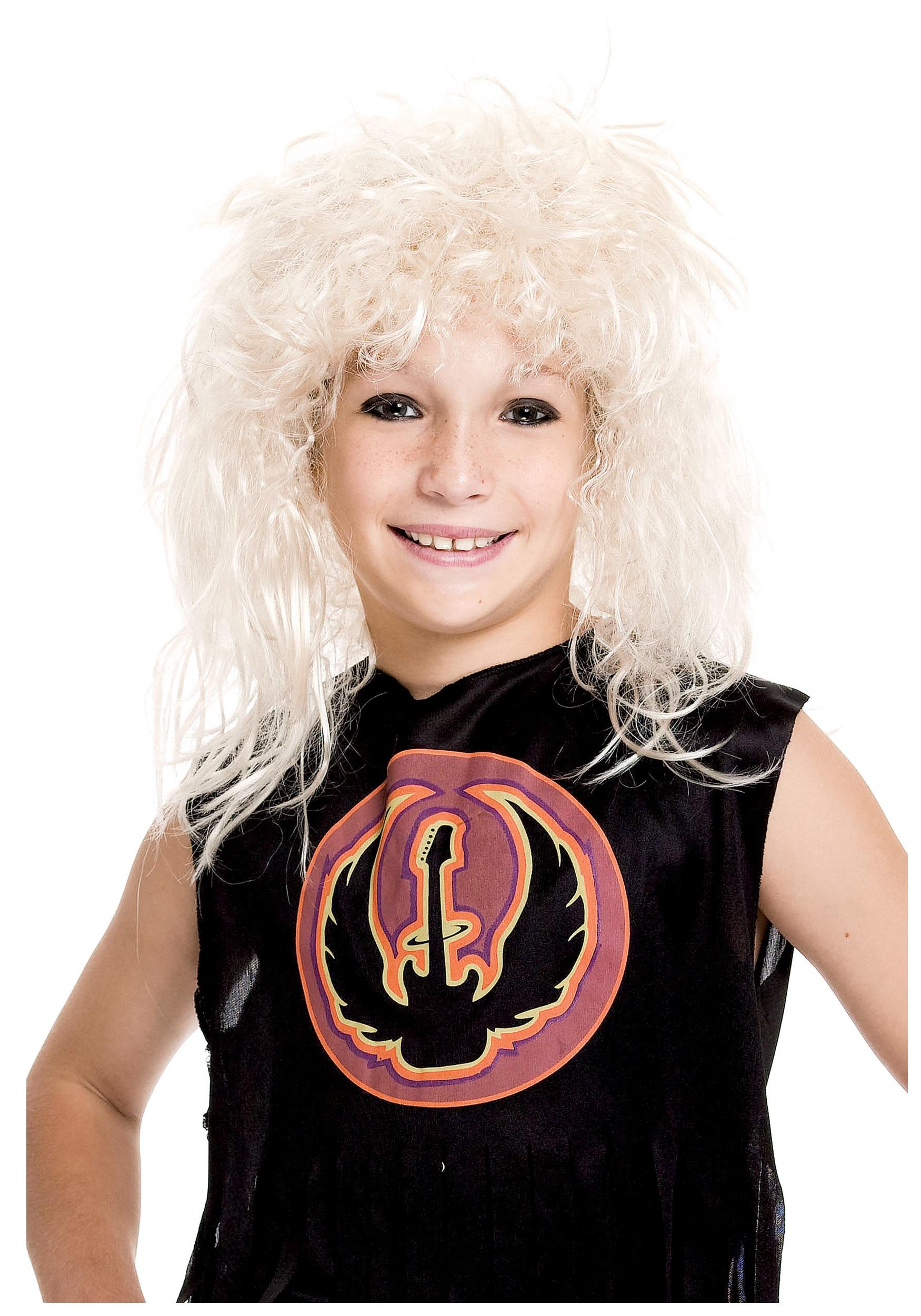 kids 80s rockstar wig