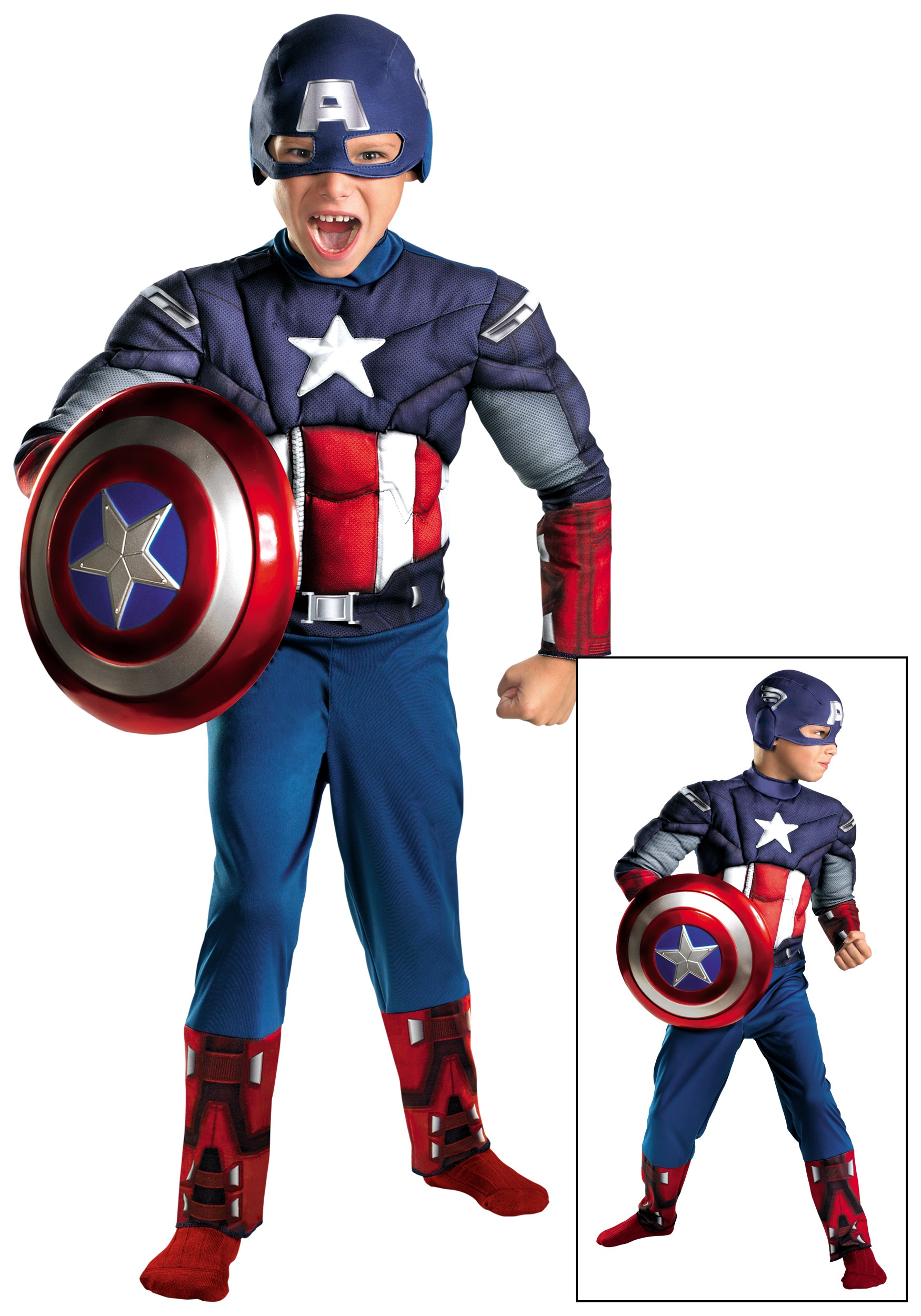 Kids Avengers Captain America Muscle Costume  sc 1 st  Halloween Costumes & Kids Avengers Captain America Muscle Costume - Halloween Costumes