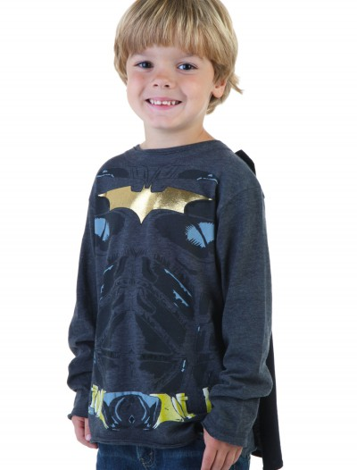 Kids Black Batman Long Sleeve Costume Shirt, halloween costume (Kids Black Batman Long Sleeve Costume Shirt)