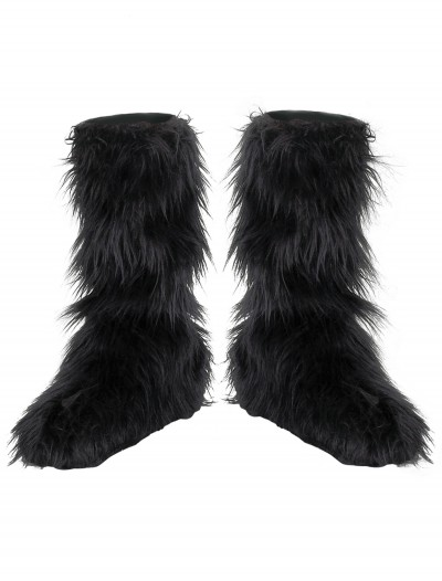 Kids Black Furry Boot Covers, halloween costume (Kids Black Furry Boot Covers)
