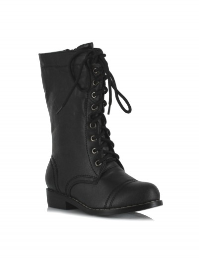 Kids Black Military Boots, halloween costume (Kids Black Military Boots)
