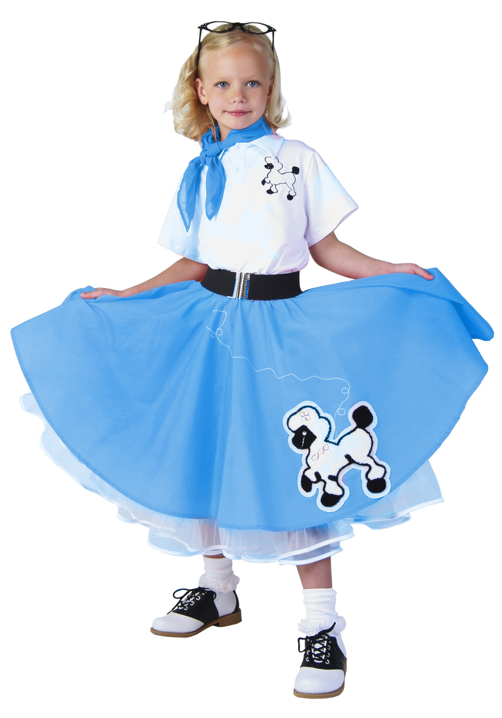 Kids Deluxe Blue Poodle Skirt Costume