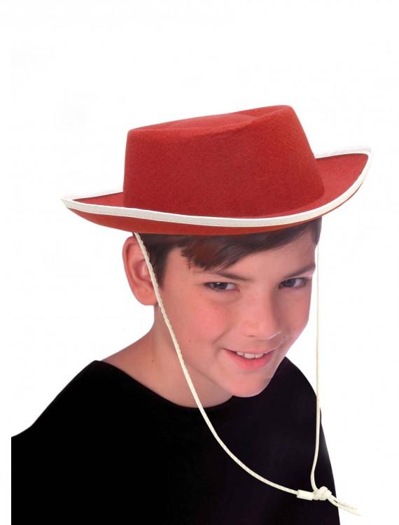 Kids Red Cowboy Hat, halloween costume (Kids Red Cowboy Hat)