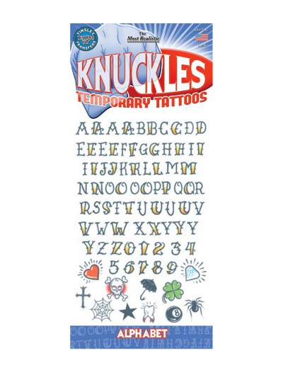 Knuckle Alphabet Temporary Tattoos, halloween costume (Knuckle Alphabet Temporary Tattoos)