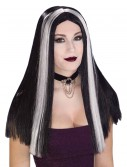 Long Black and White Streaked Wig, halloween costume (Long Black and White Streaked Wig)