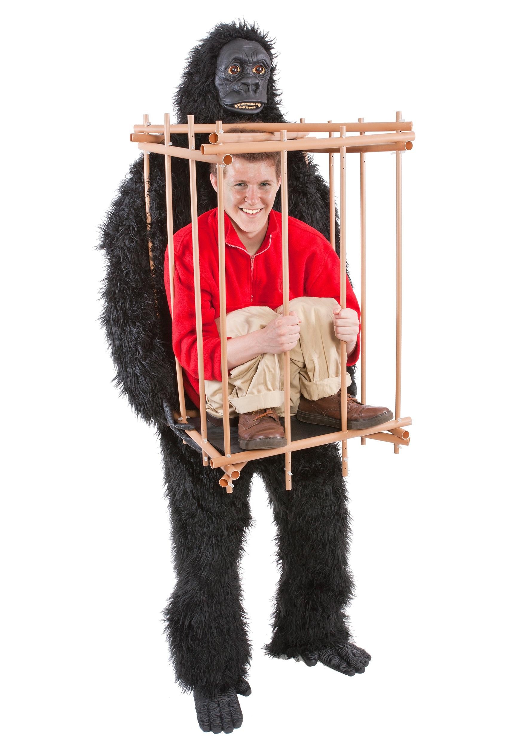 Costume Halloween Man.Man In A Gorilla Cage Costume