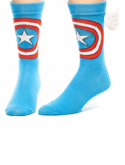 Marvel Captain America w/ Wings Crew Socks, halloween costume (Marvel Captain America w/ Wings Crew Socks)