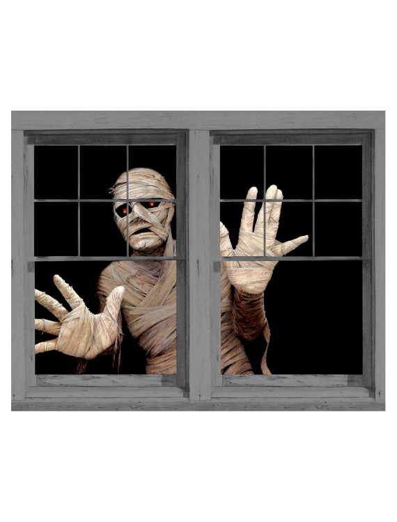 Menacing Mummy Double Window Cling, halloween costume (Menacing Mummy Double Window Cling)