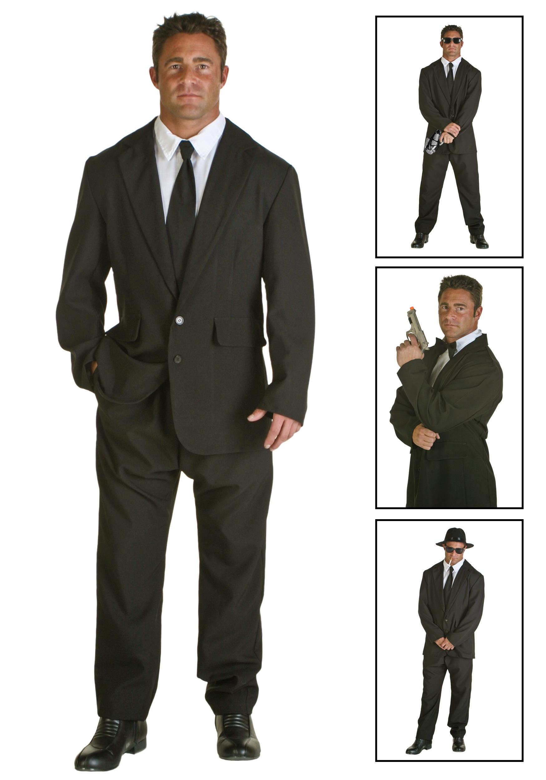 mens black suit costume - halloween costumes