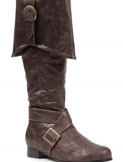 Mens Brown Buckle Pirate Boots, halloween costume (Mens Brown Buckle Pirate Boots)